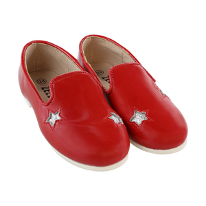 zeebra Red and silver star loafer
