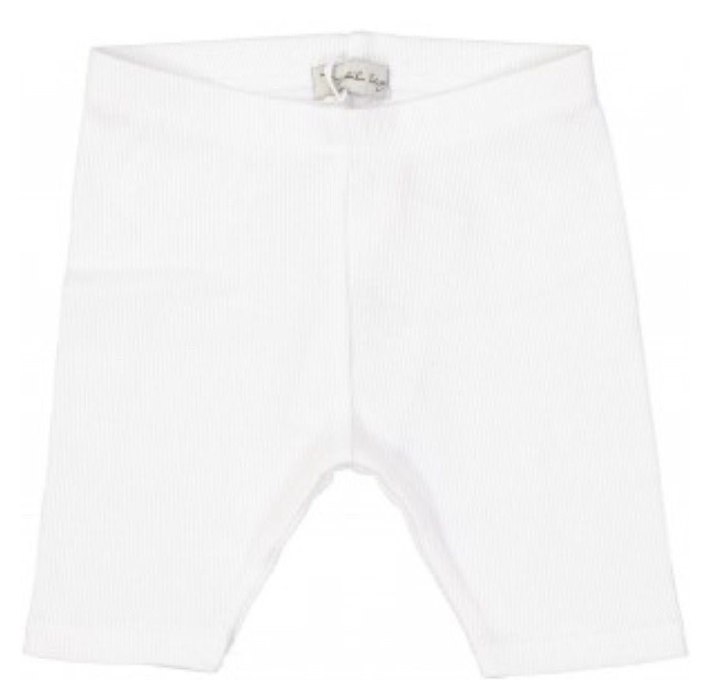 Lil Leggs White Ribbed Shorts