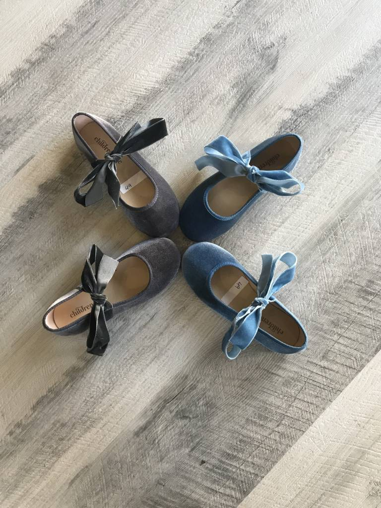 Childrenchic Ribbon Vlvt Blue Ballerina Shoe