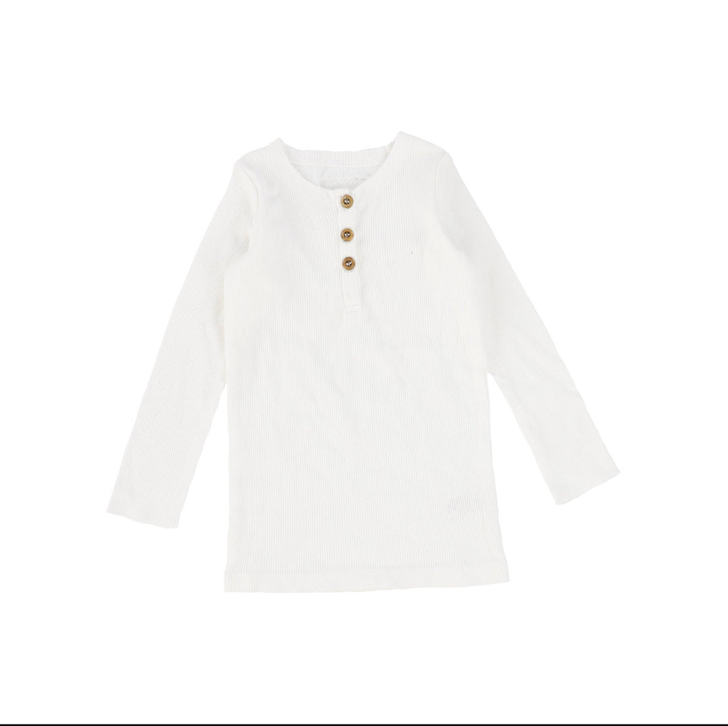 Lil Leggs Winter White Center Button Long Sleeve Tee