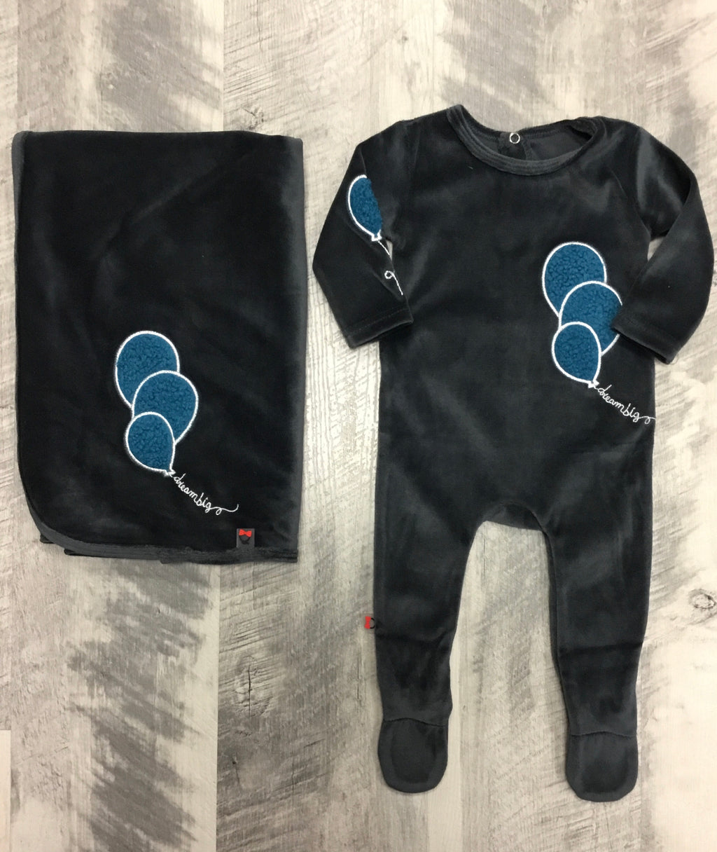 Blinq charcoal blue footie