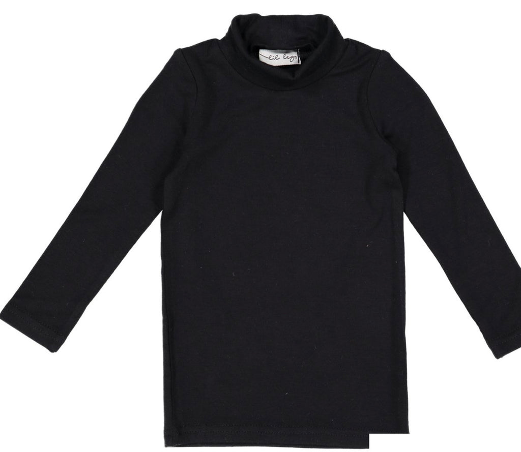 Lil Leggs Black Bamboo Turtleneck