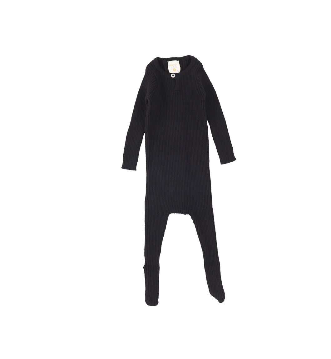 Lil Leggs Black Knit Footie