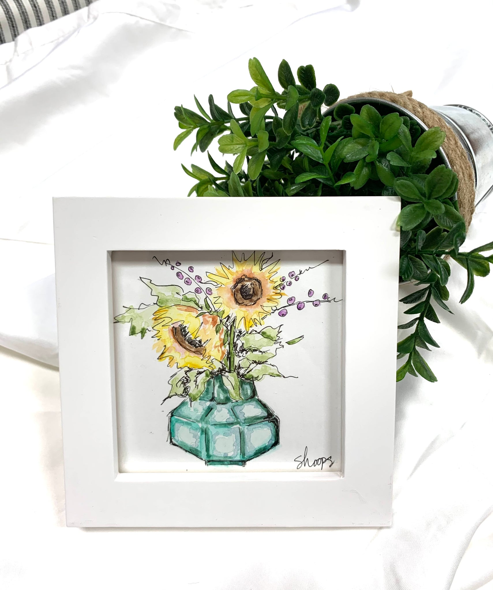 Original Sunflower Framed Mini Watercolor