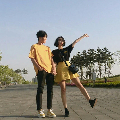 Black and yellow couple outfit