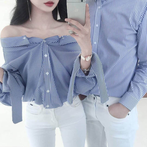 Button-up shirt couple outfit