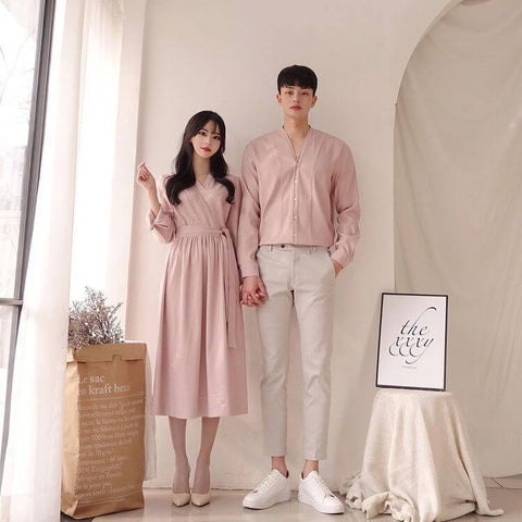 Pastel pink couple outfit