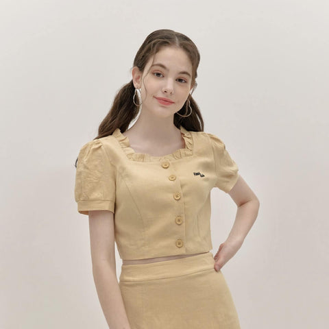 Heart Club Square Frill Blouse Top in Yellow