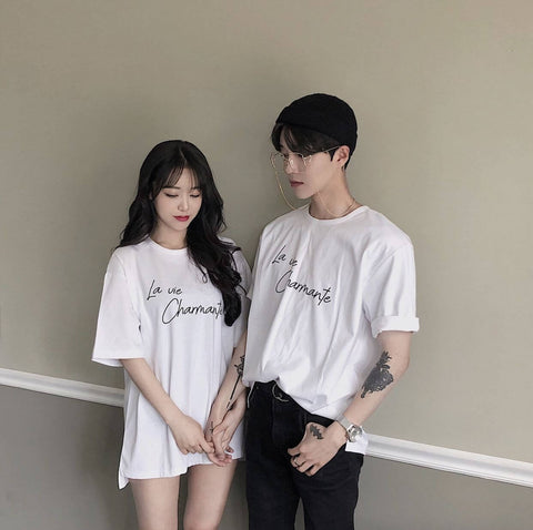 Oversized shirt couple outfit