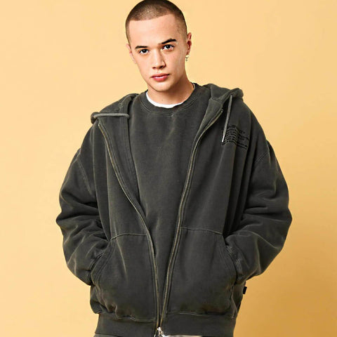 Dominant Pigment Embroidery Oversized Hoodie Jacket