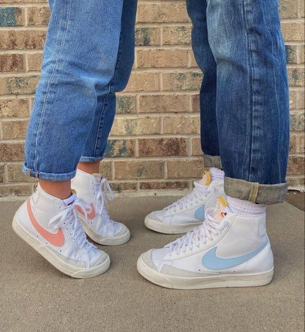 Pink and blue couple shoes