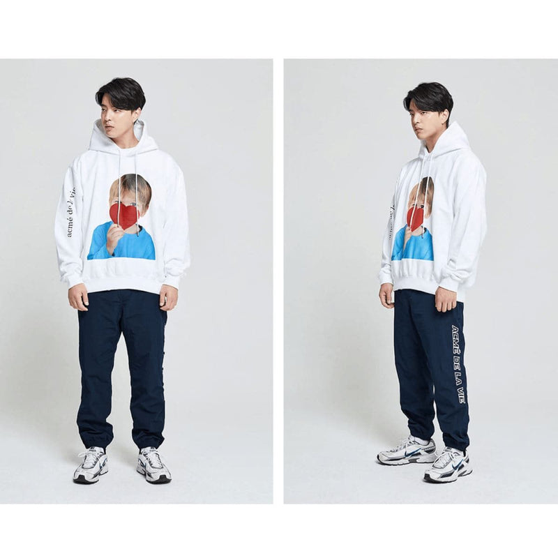 ADLV Baby Face Red Heart White Oversized Graphic Hoodie styleupk