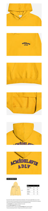 ADLV Two Colors Embroidery Basic Oversized Hoodie Mustard Yellow styleupk
