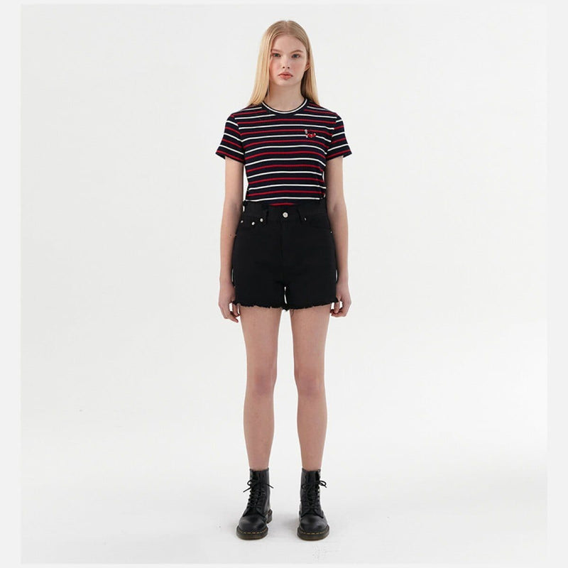 Kirsh x Romantic Crown Striped Cherry Cropped T-shirt Navy styleupk
