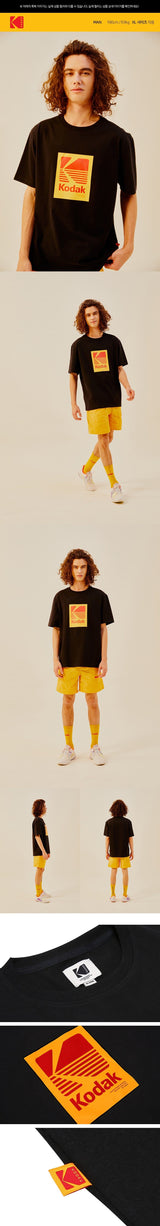 Kodak Apparel Yellow Red Big Logo Classic Oversized T-shirt Black styleupk