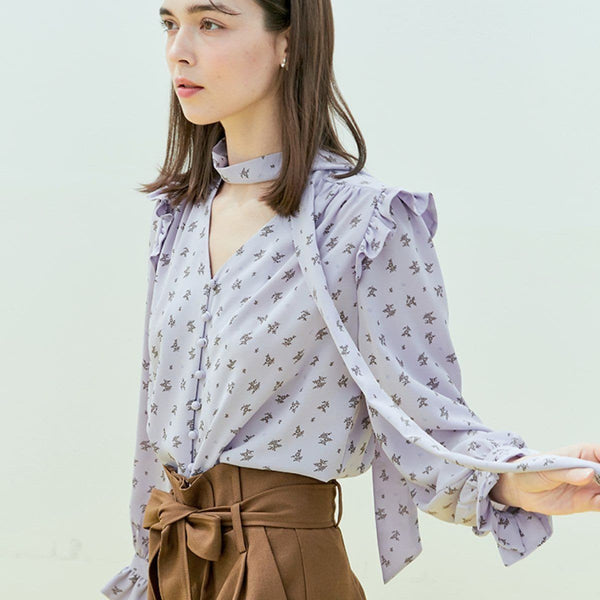 Near & Dear Floral V Neck Blouse Near & Dear Purple FREE