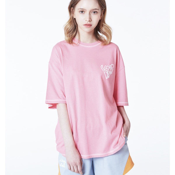 Near & Dear Logo Basic Oversized T-shirt Near & Dear Pink FREE