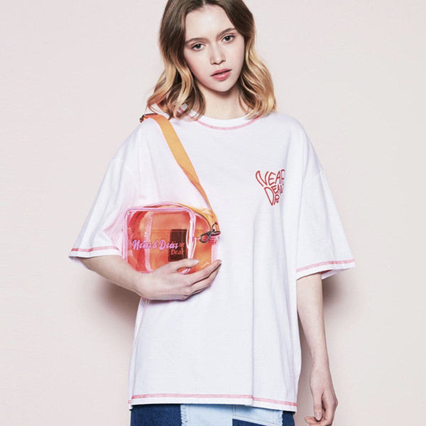 Near & Dear Logo Basic Oversized T-shirt Near & Dear White FREE