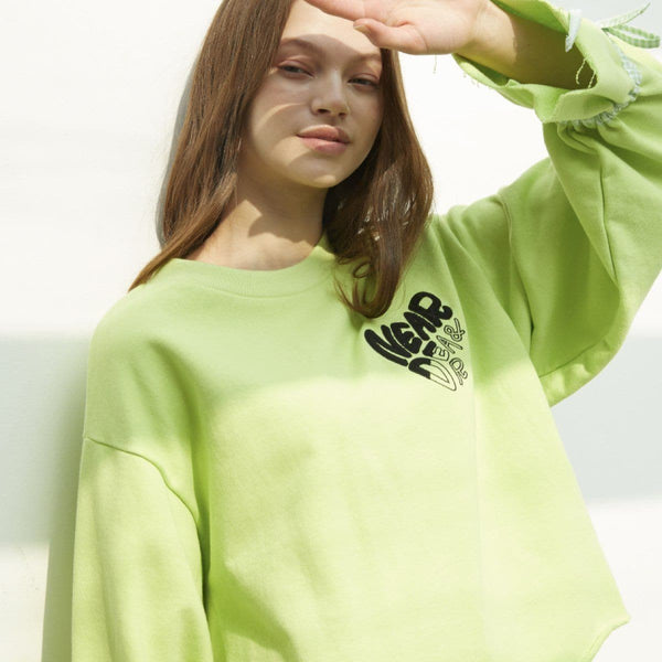 Near & Dear Weki Meki Yoojung Ribbon Band Sweatshirt Near & Dear Green FREE
