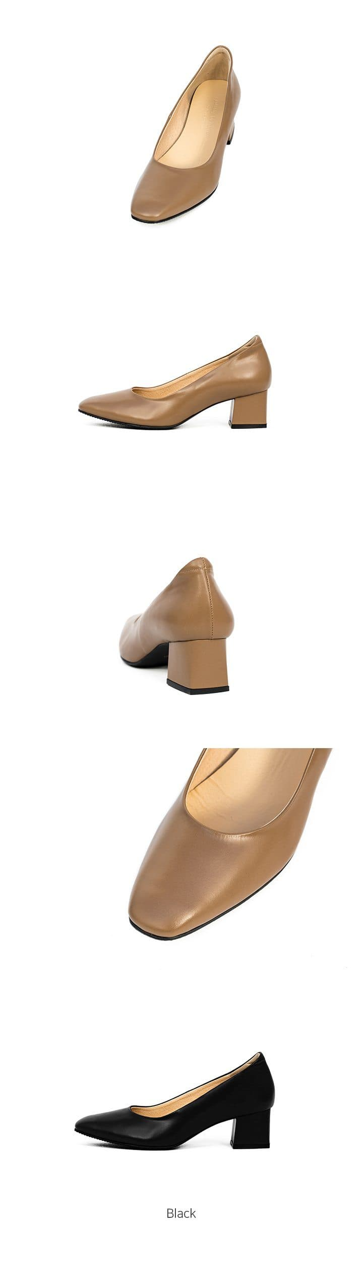 Young Bridge Dana Block Heel Leather Pumps Brown Young Bridge