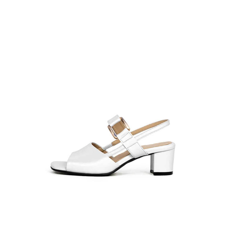 Young Bridge Margaret Slingback Leather Heels White Young Bridge