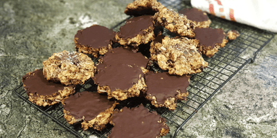 Chunky Muesli Biscuits with Choc Top