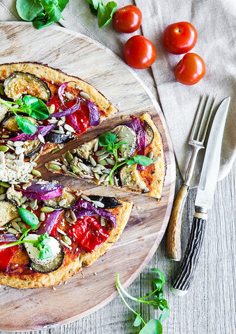 Cauliflower Pizza base with Vegetarian Toppings