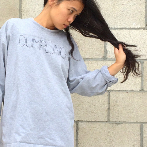 'DUMPLING' Embroidery Knit Top - Heather Grey
