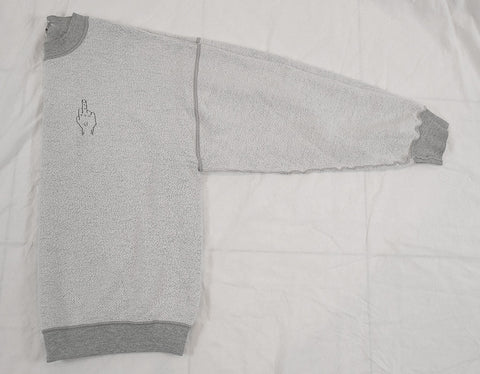 'FU' Finger Embroidery Sweatshirt - Reversed Heather Grey