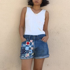 TRS ReMade Denim Patched Shorts