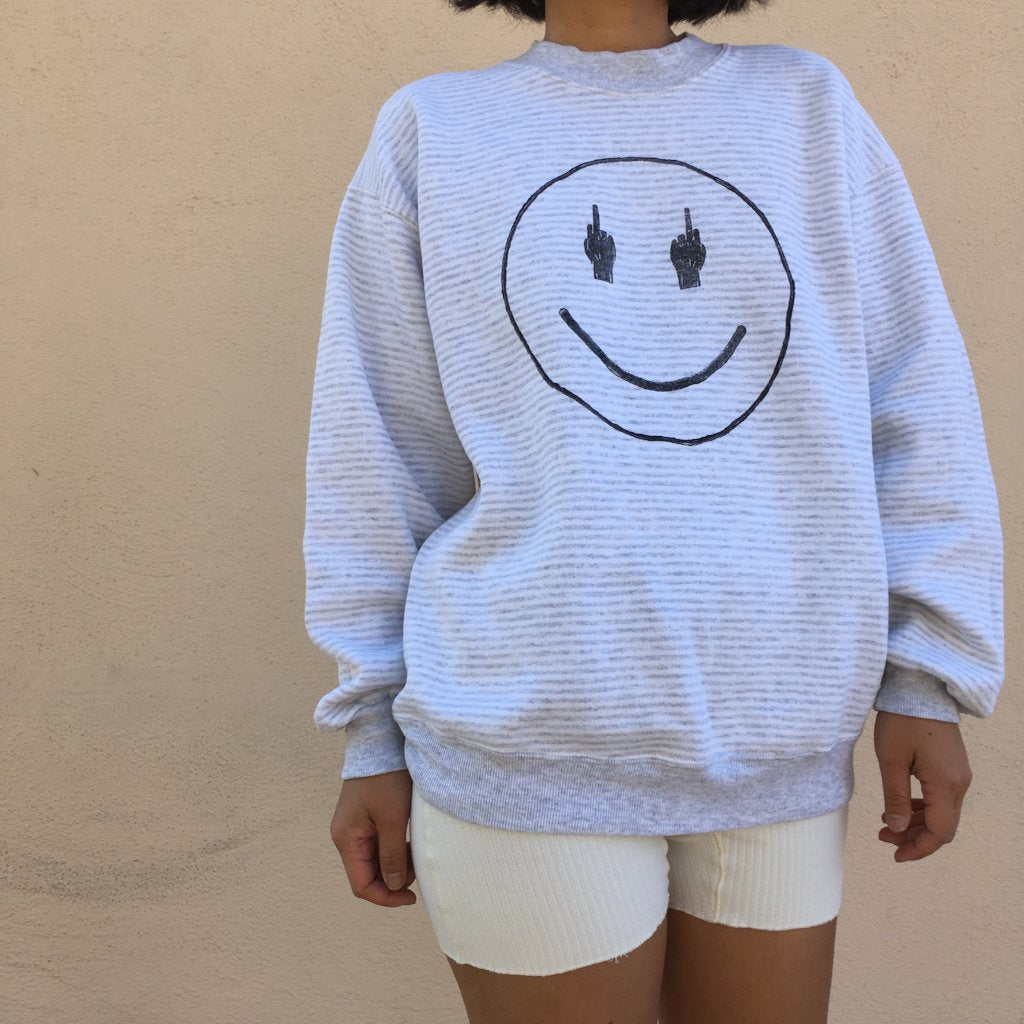 TRS SMILE White/Heather Grey Stripe Sweatshirt