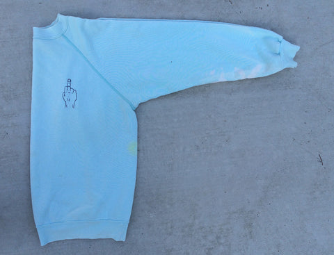 'FU' Finger Embroidery Sweatshirt - Arctic Blue