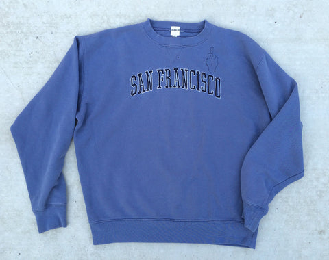 'FU' Finger Embroidery Sweatshirt - Denim Blue