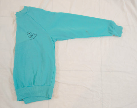 'Bowie Heart' Embroidery Sweatshirt - Aqua