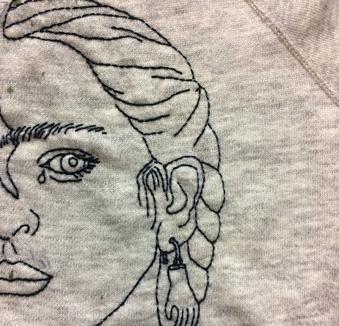 'Portrait of a Portrait of Frida' Hand Embroidered Sweatshirt - Heather Grey
