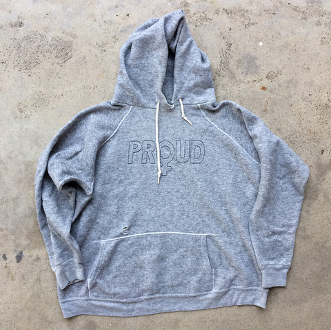 'PROUD' Embroidery Hoodie - Heather Grey