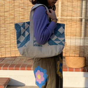 Blue/Ivory Quilted Small Tote