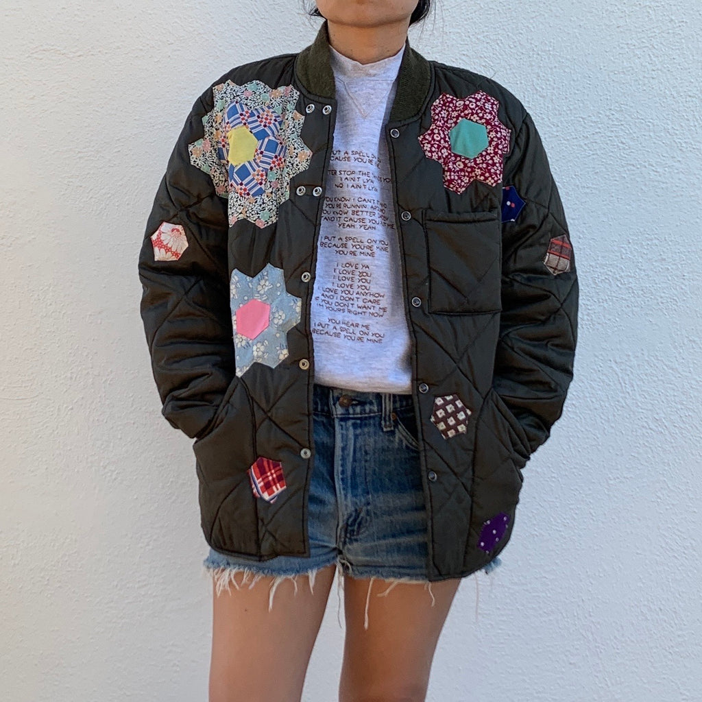 Nylon Quilted Jacket- Grandmothers flower garden