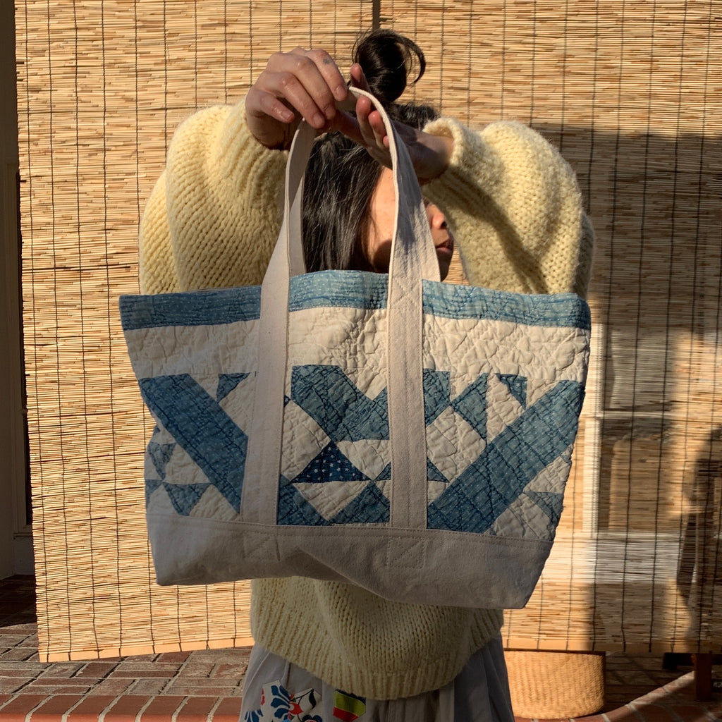 Blue/Ivory Quilted Small Tote - 2