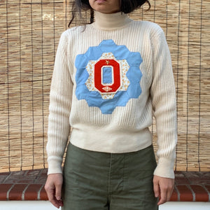 Wool Turtleneck Sweater- Quilted appliqué