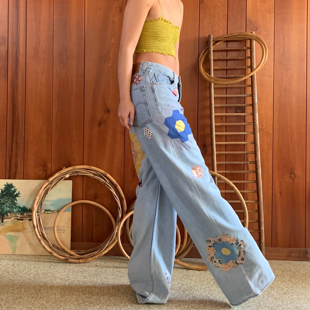 Wide Leg Jeans with quilt blocks