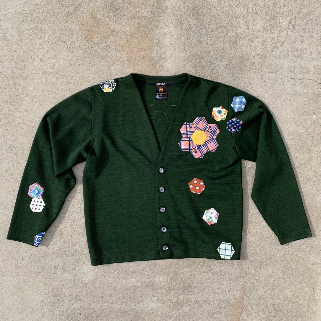 Wool Cardigan - Quilted appliqué