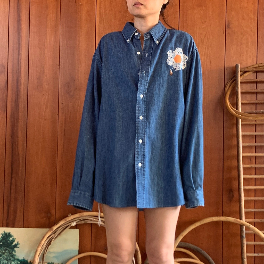 Denim Shirt with quilt blocks