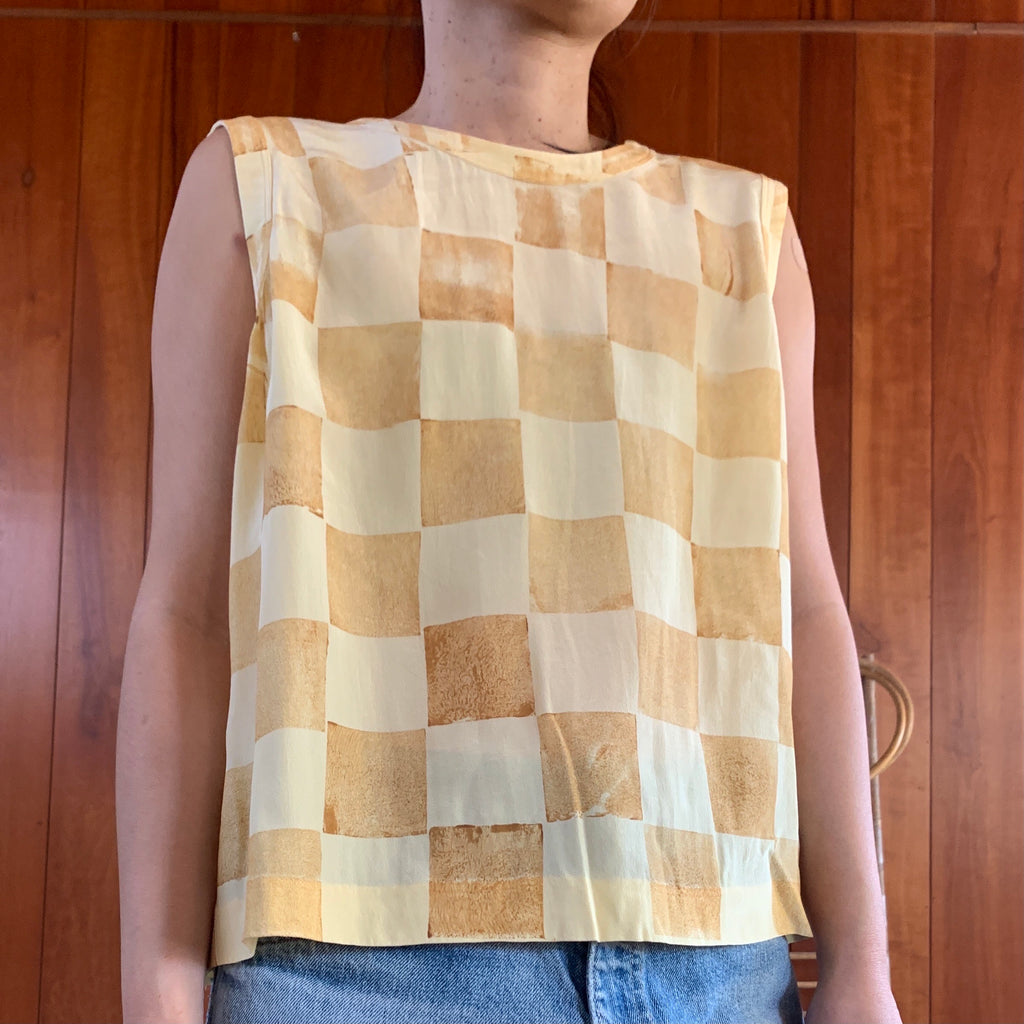 Checker Hand Printed Top