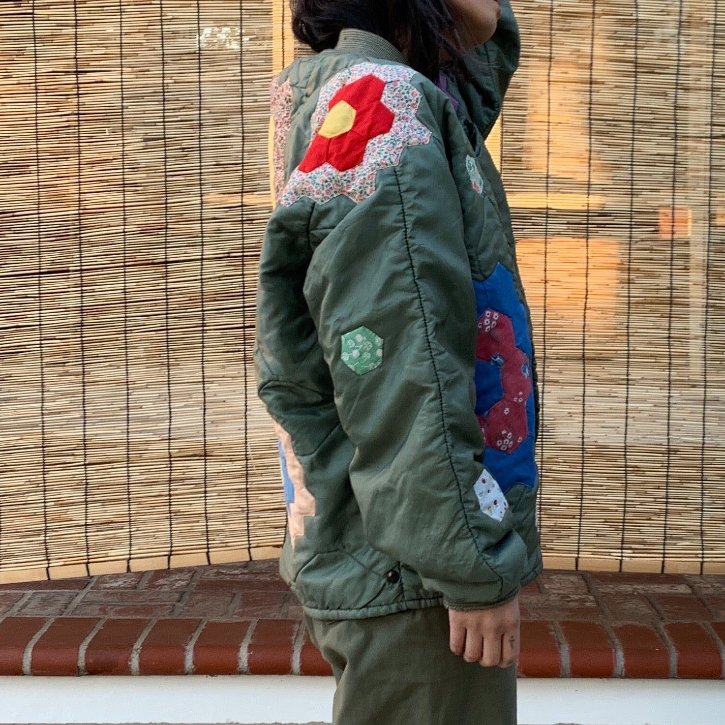 Military Nylon Quilted Jacket- Quilted appliqué