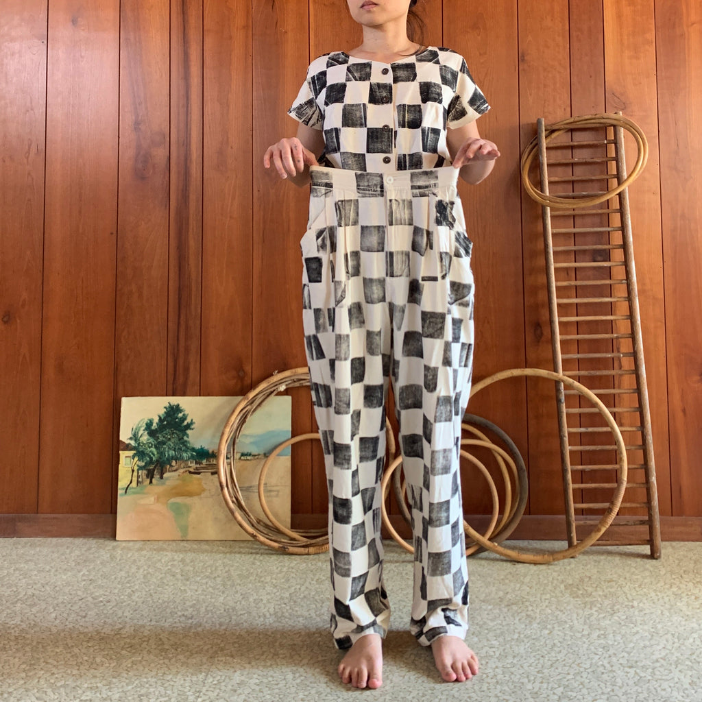 Checker Hand Printed Pants