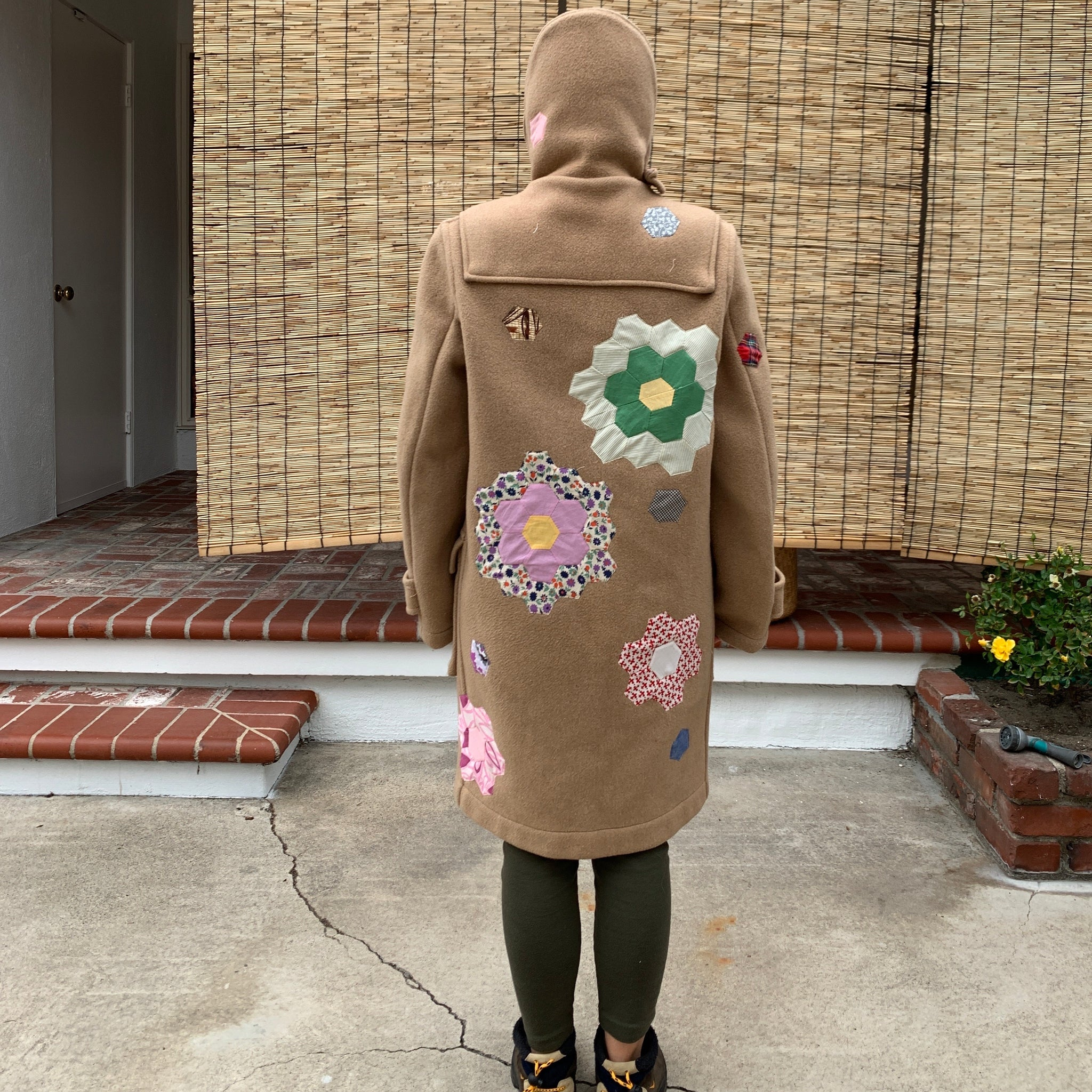 Wool Coat - Quilted appliqué