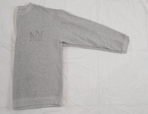 Naked 'NY' Embroidery Sweatshirt - Lt Heather Grey