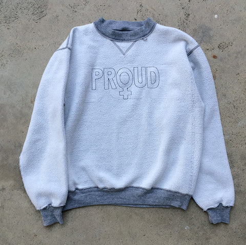 'PROUD' Embroidery Sweatshirt - Reversed Heather Grey