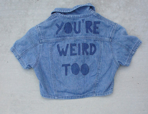 TRS 'You're Weird Too' Patched Denim Crop Top